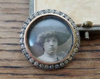 Edwardian Silver Gilt Paste Stone Set Photo Locket + Original Photo & Box