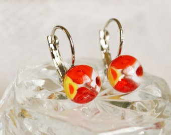 Colorful transparent fused glass dangle Millefiori earrings
