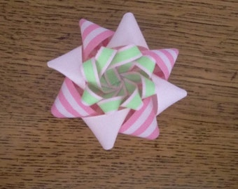 Pink and green Easter/spring Hair bow