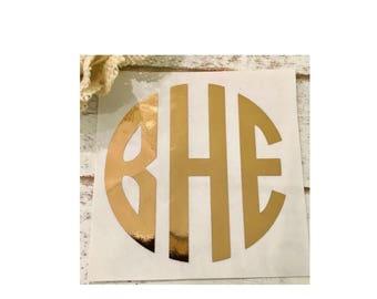 Foil monogram, Foil decal, Foil monogram decal, Gold decal