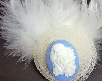 Gothic Muerto Blue China Wedding Fascinator Hatclip Alternative White Feather brooch