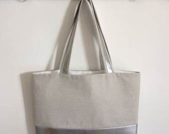 Silver & Grey faux leather bag