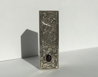 Vintage Decorative 800 Sterling Silver Patterned Lipstick Case Tube