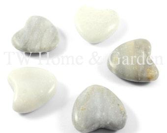 Heart shaped stones pebbles decorative stones home decor set of 5 romantic gift