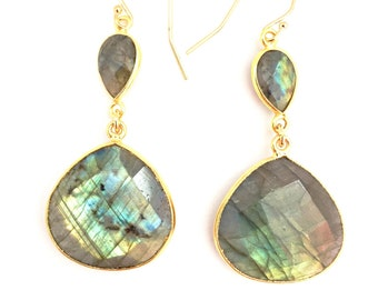 Labradorite Dew Drop Earrings