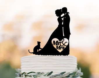 Bride and groom silhouette cake topper for wedding, cat cake topper, cake topper for birthday, funny wedding cake topper acrylic