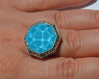 Big Judith Jack Maldives Collection Turqouise Color Abalon Clear Crystals Marcasites Modernist Statement Octagon Coctail Ring Size 7