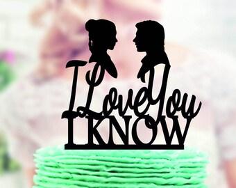 Star Wars Wedding Cake Topper , Han & Leia ,  I Love you I Know, love you i know,  Han Solo, wedding cake topper Star Wars, Star Wars topper