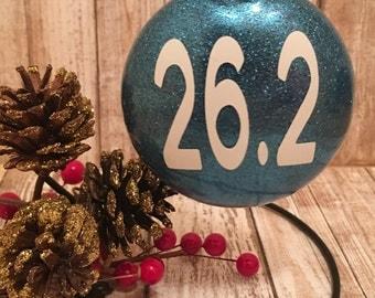 Marathon 26.2 Custom Made Glitter Ornament