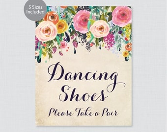 "Printable Dancing Shoes Sign - Floral Wedding Dancing Shoes Sign - Colorful Flower ""Dancing Shoes - Please Take a Pair"" Shabby Chic 0003-A"