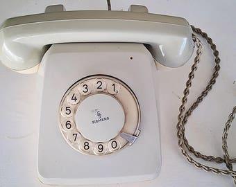 SUMMER SALE!!  vintage grey rotary telephone , retro phone. siemens retro