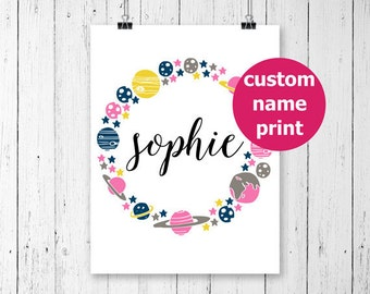 Custom Name Art, Personalized Name Print, Space Print, Space Nursery Decor, Personalized Nursery Printables, Baby Name Art, Baby Name Print,
