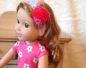 14 inch doll felt bow or pom pom headband