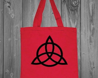 Triquetra Tote Bag- Trinity Wiccan Symbol Canvas Tote Bag, Laptop Bag, Grocery Bag,
