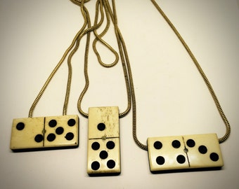 Playful antique domino snake chain necklace