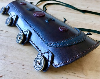 Handmade Leather Arm Guard For Archery, Moon, Wicca, Romani Design