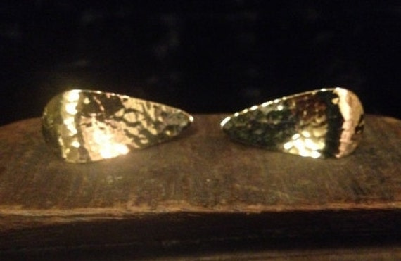 SALE Vintage Cufflinks Made from Vintage Gold Hammered Emmons Earrings