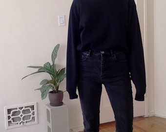Vintage Worn Crew Neck Sweatshirt Black