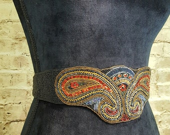 Beaded Belt Jewel Toned Women's 1980's Vintage