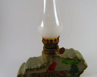 Small Vintage Kentucky State Shaped Oil Lamp