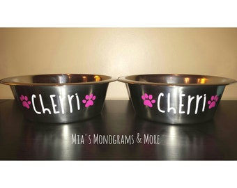 Set of TWO Stainless Steel Personalized Pet Bowls Custom Monogrammed With Your Pet's Name! Multiple Colors, Designs & Fonts Available!