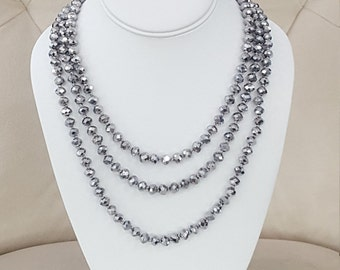 Silver Metallic Faceted Crystal Opera Length Necklace 80""