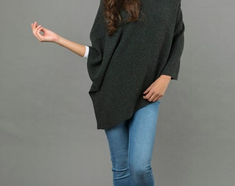 Cashmere Poncho Asymmetric Dress Charcoal Grey Plain 2ply Knitted Super Soft Luxury - MADE IN ITALY