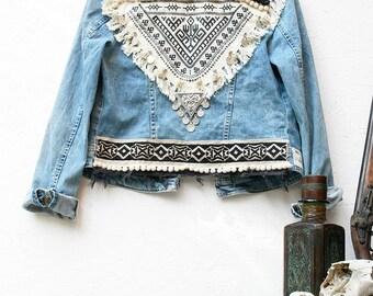 URBAN FOLK jacket jean Vintage Boho Rock ethnic 70's Style Festival Bohemian Coachella chest embroidery