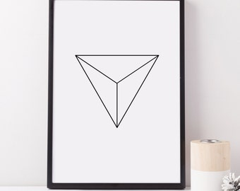 Triangle Minimalist Art Print, Minimalist Art, Triangle Art, Triangle Art Print, Simple Wall Art, Simple Print, Black and White Art