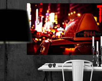 Times Square taxi canvas, New York cab, NYC taxis art print, bokeh decor, wall hangings