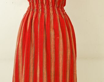 1960's/70's Red Guatemalan Summer Dress / Ethnic / Boho/ Hippy / Gypsy / Maxi / Rare Collectable Retro
