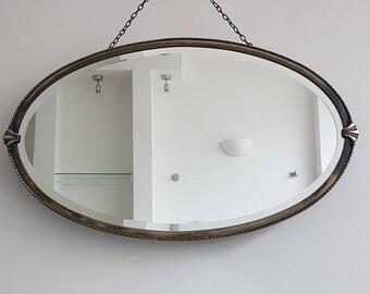 Edwardian Metal Framed Mirror With Beaded Frame & Crest Details At The Side