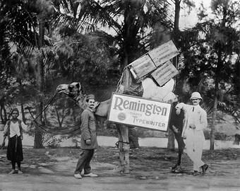 Remington Typewriter Ad Photo, Balochistan, Pakistan, Typewriter Camel, Black White Photography, Vintage Desktop Typewriter, Wall Decor