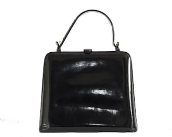 1980s Bottega Veneta black patent leather crossbody bag