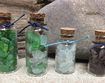 Glass Bottles of Found Lake Erie Beach Glass