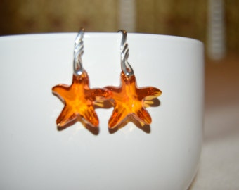 Swarovski 20mm Astral Pink Starfish Pendant Earrings