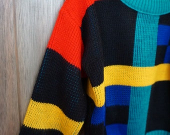 1980s Lil Funky Mondrian Sweater - Size 5