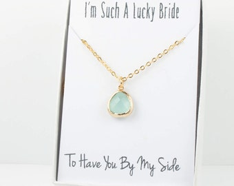 Mint Gold Necklace, Bridesmaid Mint Green Necklace, Green and Gold Necklace, Green Wedding Accessory, Bridesmaid Jewelry