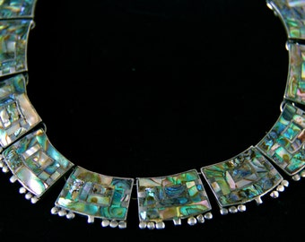 Vintage Abalone Taxco 925 Sterling Silver Necklace