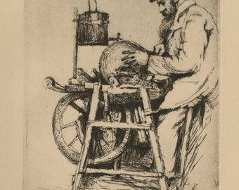 """WILLIAM MEYEROWITZ (Russian/American, 1887-1981), """"The Knife Grinder"""", ca. 1920, etching, pencil signed"""