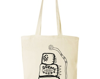 screen print tote bag with print
