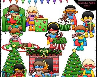 Superhero Christmas Kids Clip Art and B&W Set