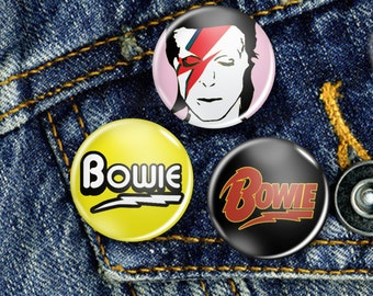 David Bowie Pin Button Badge Set 3 x 25mm Badges or Individual