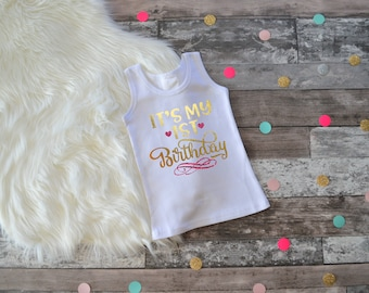 Girls 1st Birthday, First Birthday Outfit, Baby Girls First Birthday, First Birthday Outfit, Birthday Tank Top, Birthday Tank, 1st Birthday