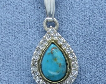 Dainty Arizona Turquoise Halo Necklace Sterling Silver Fancy-Dancy Jewelry