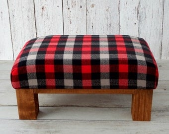 Upholstered rustic red gray plaid ottoman pouf - cabin furniture - rustic footstool - wooden pouf - small foot rest - rustic chic home decor