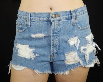 High Waisted Distressed Denim Shorts