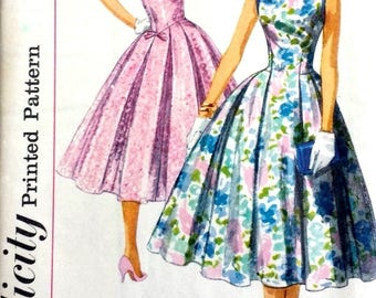 "Vintage 1950's Sewing Pattern Pretty Low 'V' Back Prom Ballgown Dress Bust 34"" Rockabilly"