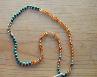 Hand Knotted Carnelian and Turquoise Beaded Necklace