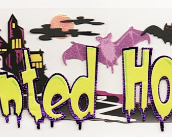 Halloween Haunted House Title  Jolee's Boutique Scrapbook Stickers Embellishments Cardmaking Crafts